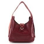 Hermès Tsako Shoulder Bag in Dark Red Box Calf Leather and Canvas, 1970s Vintage