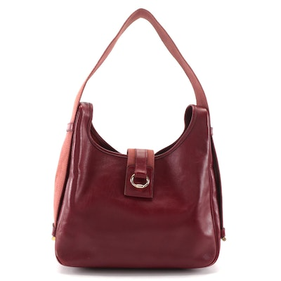 Hermès Tsako Shoulder Bag in Dark Red Box Calf Leather and Canvas, 1970s Vintage