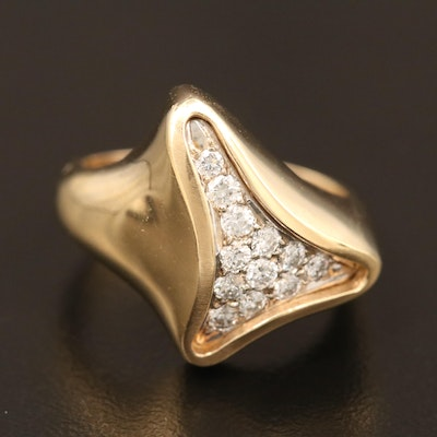 14K Diamond Freeform Ring