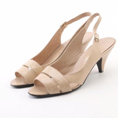 Halston III Beige Leather Slingback Sandals