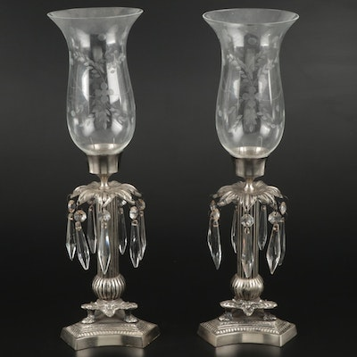 Pair of Metal Candlesticks with Glass Shades