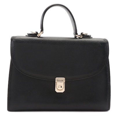 Burberrys Two-Way Satchel in Black Grained Leather