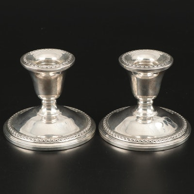 Pair of Rogers Weighted Sterling Silver Candle Holders