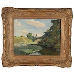 """Edmond J. Fitzgerald Oil Painting """"Sunlight and Shadow"""", Late 20th Century"""