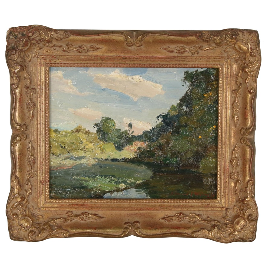 "Edmond J. Fitzgerald Oil Painting ""Sunlight and Shadow"", Late 20th Century"