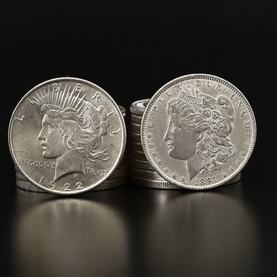 Twenty High Grade Silver Dollars, Morgan and Peace