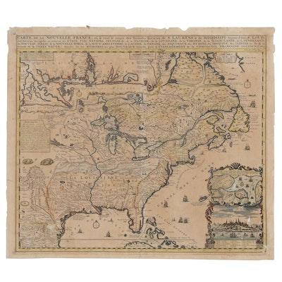 """Henri Abraham Chatelain Engraved Map """"Carte de la Nouvelle France"""", 1719"""