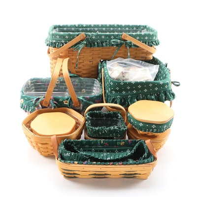Longaberger Handwoven Stair and Other Baskets with Plastic Liners