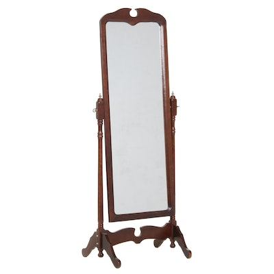 Traditional Style Walnut Freestanding Mirror, Late 20th Century