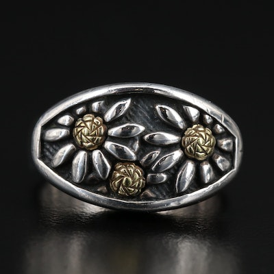 Ann King Sterling Silver Flower Ring with 18K Accents