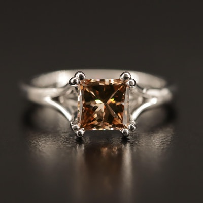 18K 1.40 CT Fancy Brown Diamond Solitaire Ring