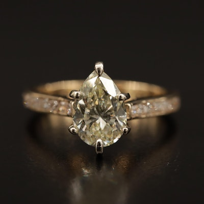 14K 2.46 CTW Diamond Ring Featuring 2.00 CT Center Diamond