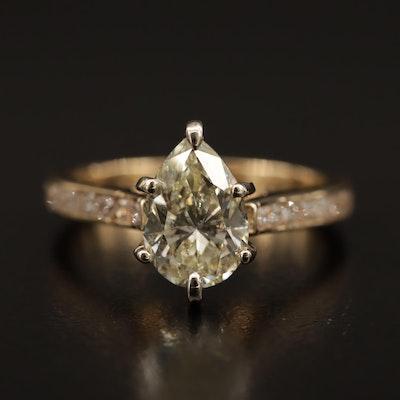 14K 2.46 CTW Diamond Ring Featuring 2.00 CT Center Diamond