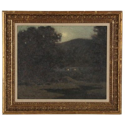 """Tom Robertson Oil Painting """"Killin - Moonlight"""""""