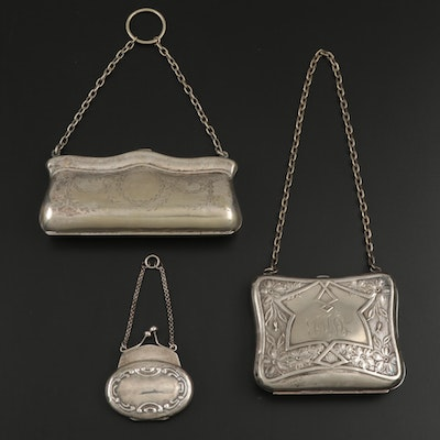 Sterling Silver and Silver Tone Miniature Handbag Pill Box and Cigarette Cases