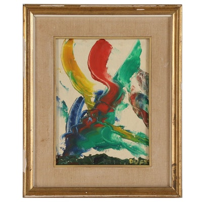 "Abstract Oil Painting ""Composition #2-Collision"", Late 20th Century"