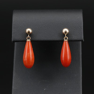 14K Coral Dangle Earrings