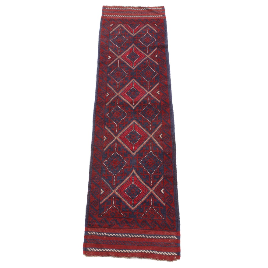 2'1 x 8'3 Hand-Knotted Afghani Turkoman Carpet Runner, 2000s