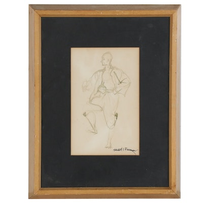 Stuart I. Freeman Figural Watercolor Painting, Mid-Late 20th Century