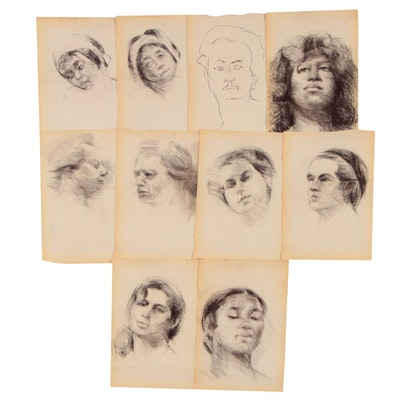 Shirley Resnick Portrait Study Charcoal Drawings, circa 1993