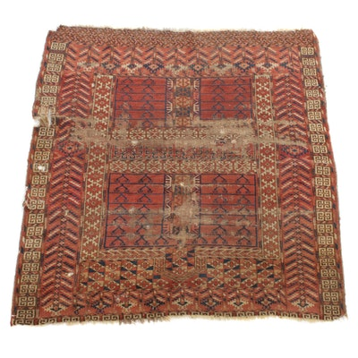 3'9 x 4'2 Handwoven Persian Turkoman Rug, 1890s