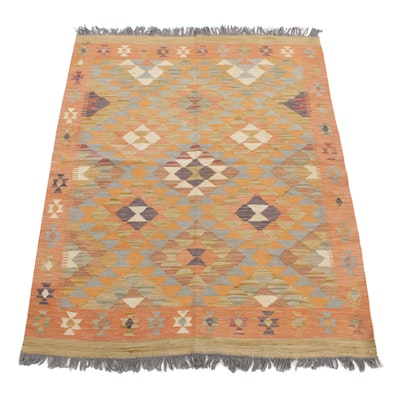 4'11 x 6'10 Handwoven Turkish Village Kilim Rug, 2000s