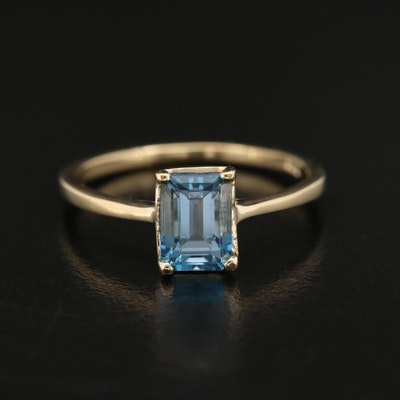 14K Blue Topaz Solitaire Ring