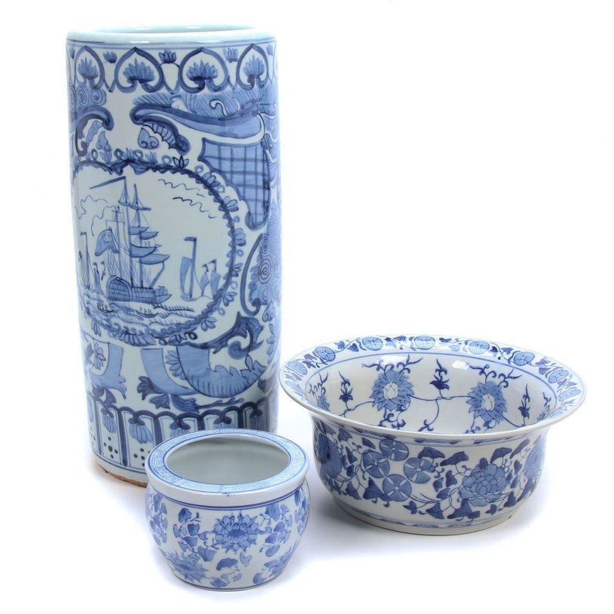 Chinese Blue and White Umbrella Stand, Centerpiece Bowl and Planter