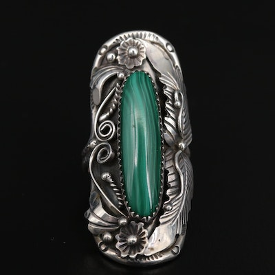 Western Sterling Silver Malachite Feather and Floral Applique Pointer Ring