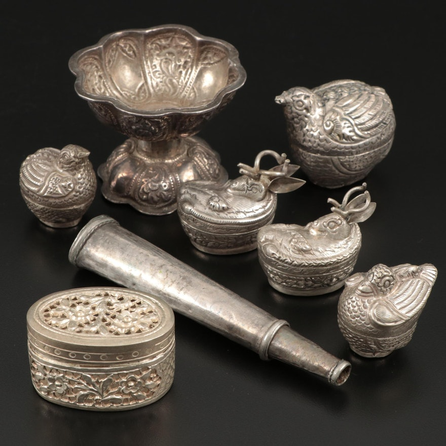 Silver and Silver Tone Character Trinket Boxes and Egg Cup