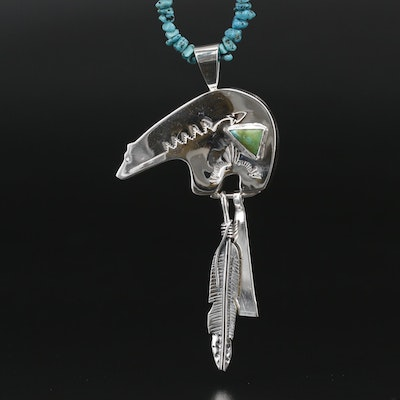 Signed Western Sterling Medicine Bear Pendant on Beaded Turquoise Necklace