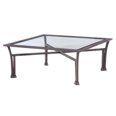 Bronze-Patinated Metal and Glass Top Coffee Table
