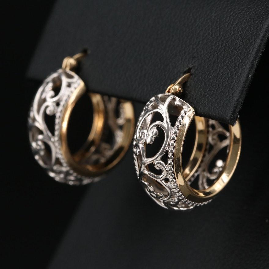 14K Yellow and White Gold Openwork Hoop Earrings