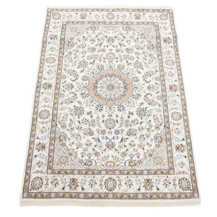 4'1 x 6'3 Hand-Knotted Persian Nain Silk Blend Rug, 2010s
