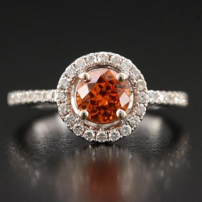 18K Spessartine Garnet and Diamond Halo Ring