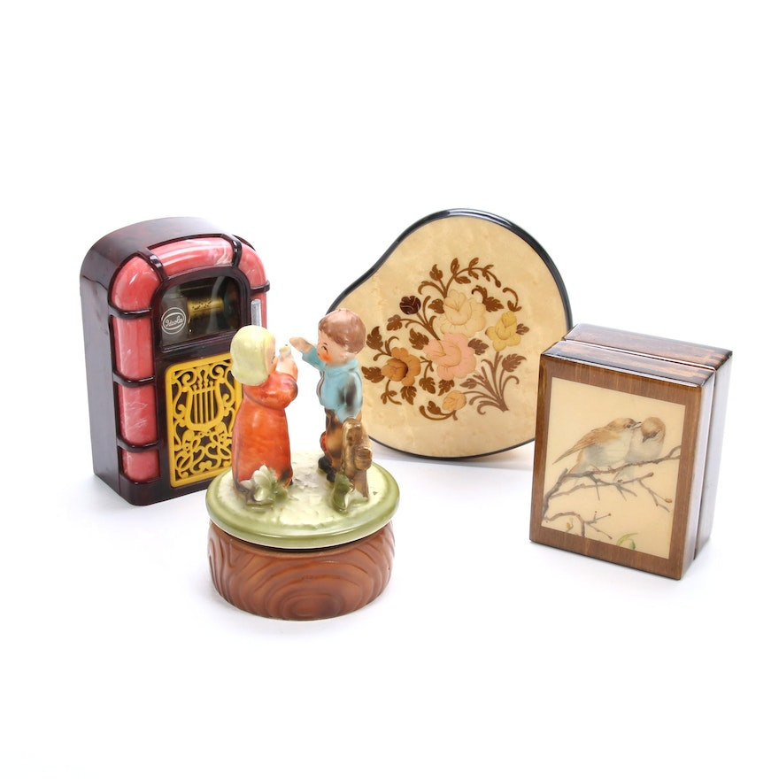 Reuge Italian Burl Lacquer and Other Music Boxes, Mid 20th Century