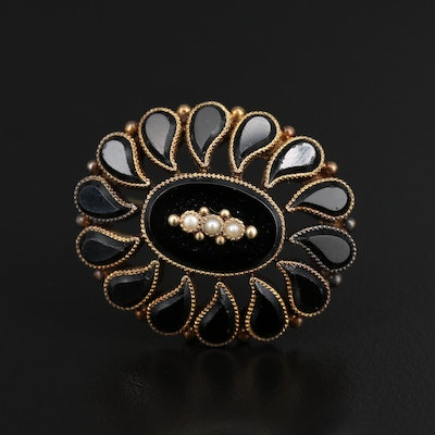 Victorian 14K Seed Pearl and French Jet Mourning Converter Brooch