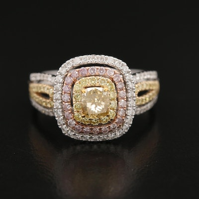 14K Tri-Color Gold 1.38 CTW Diamond Halo Ring