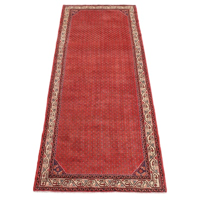 4'1 x 10'2 Hand-Knotted Persian Mir Saraband Wide Runner, 1970s