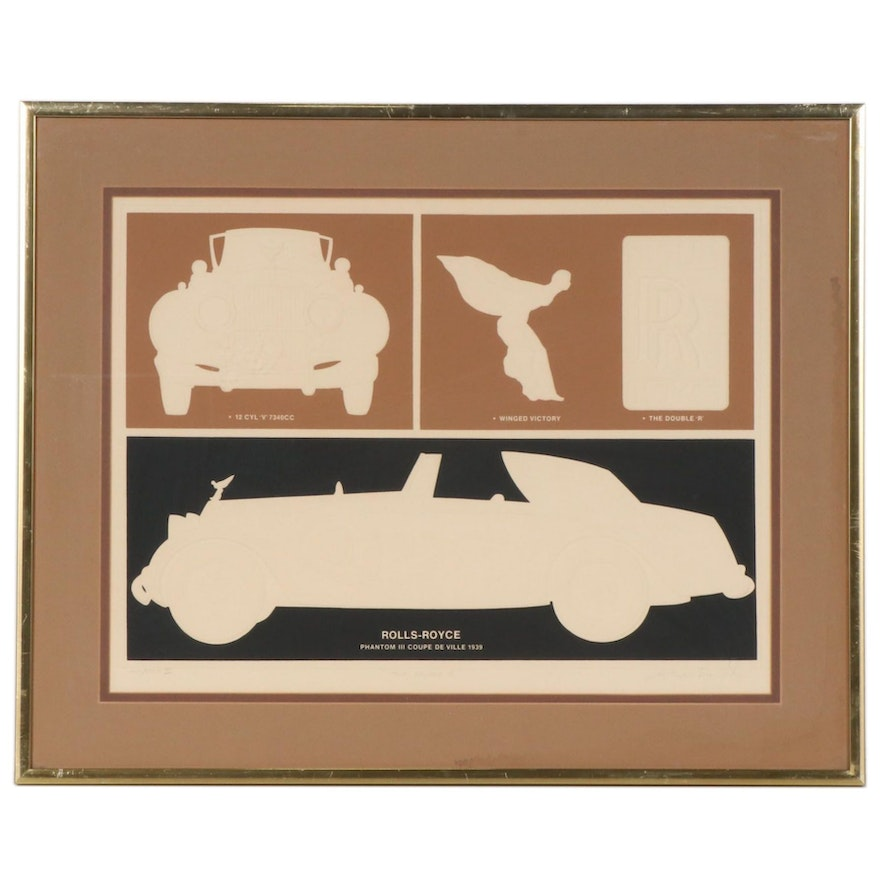 """Warren Woodward Embossed Serigraph """"The Double R"""", Mid to Late 20th Century"""