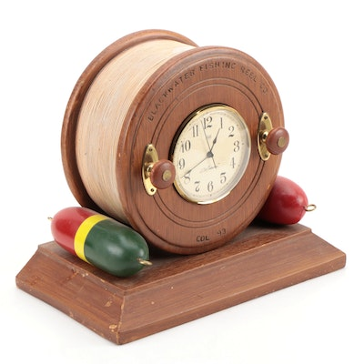 Sligh Bob Timberlake Collection Fishing Reel Mantle Clock, Late 20th Century