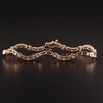 14K Diamond Wavy Link Bracelet