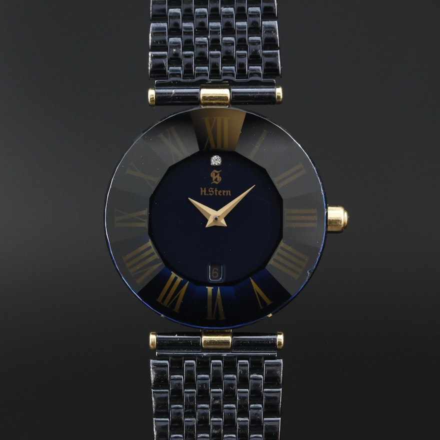 H. Stern Faceted Sapphire and Diamond 18K Quartz Wristwatch
