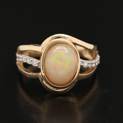 14K Opal and Diamond Ring with Open Shank