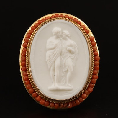 Vintage 14K Molded Glass and Coral Cameo Brooch