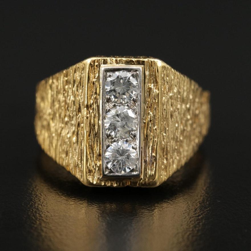 14K Gold Diamond Ring with Wood Grain Finish