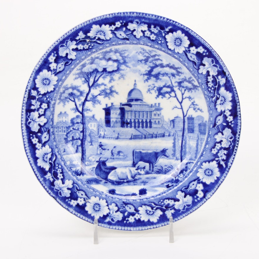 "Rogers Staffordshire ""Boston State House"" Plate, 1824-1832"