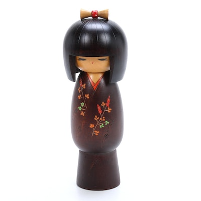 Japanese Hand-Painted Wooden Kokeshi Doll