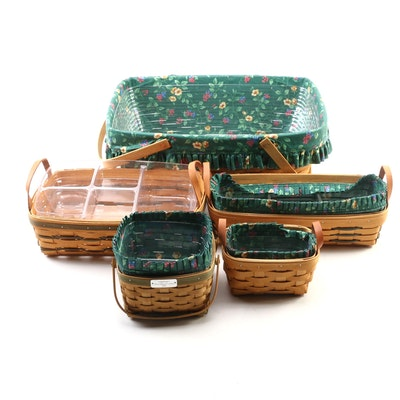 Longaberger Handwoven Baskets with Cotton Fabric and Plastic Liners