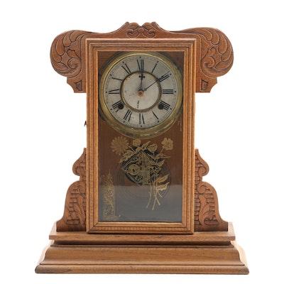 Waterbury Clock Co. Pressed Oak Shelf Clock, Late 19th- Early 20th Century